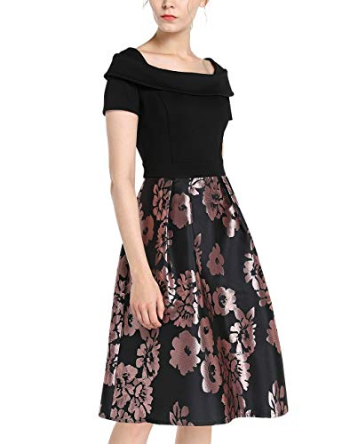 APART Elegantes Damen Kleid, Cocktailkleid, Materialmix, Jersey und glänzender Jacquard, Carmen-Ausschnitt, Kurze Ärmel, Schulterkappen, schwarz-Mauve, 36