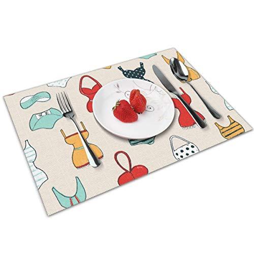 Sunwei stevig Trendy naadloos patroon met schattige badpakken. Placemats, hittebestendige Placemats Vlekbestendige anti-slip wasbare PVC tafelmatten geweven Vinyl Placemats, set van 4.