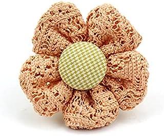 CDYEGSJ 10pcs 3.5cm Tissu de Dentelle à la Main Fleurs Appliques rembourrés for Crafts Baby's Baby's Headwear Décor Orneme...