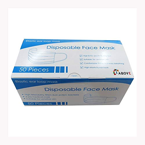 1Above 50pk- Disposable 3-Layer Face Masks, High Filterability, Sutaible For Sensitive Skin