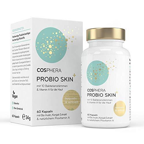 Probio Skin Kapseln Hochdosiertes Probiotikum Vegan I Probiotika & Präbiotika speziell für die Haut - Angereichert mit Bio Inulin, Vitamin A und Konjak Wurzelextrakt - 60 Kapseln