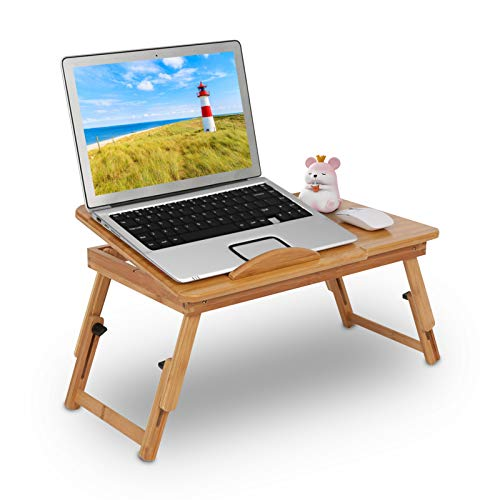 GOTOTOP Ajustable Bambú Estante Soporte de Cama para Dormotorio Plegable Escritorio Mesa Portátil para Ordenador...