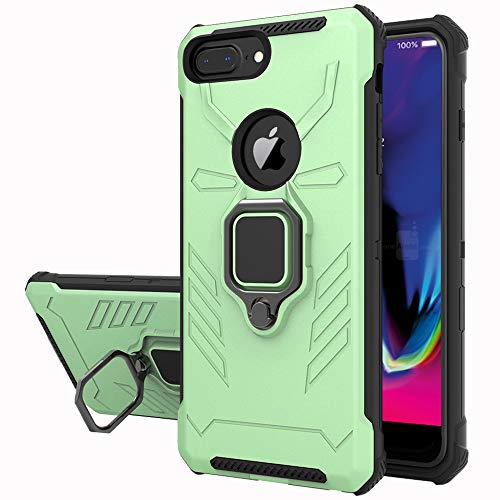 Yiakeng Cover iPhone 6 Plus/iPhone 7 Plus/iPhone 8 Plus, 360°Regolabile Anello Magnetica Supporto Ring Armor Bumper TPU Case Silicone Custodie per iPhone 6 Plus/7 Plus/8 Plus(Verde Chiaro)