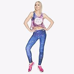 Kukubird Printed Patterns Women's Yoga Leggings Gym Fitness Running Pilates Tights Skinny Pants 8 to 12 Stretchable - Galaxy #3