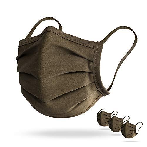 Isko Vital 3er Pack Supreme Gesichtsmasken, Bio-Baumwolle, bis zu 30-mal waschbar (Khaki, Medium)