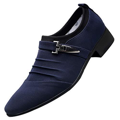 Sannysis Herren Business Schuhe Baumwollstoff Oxford Hochzeit Schnürhalbschuhe Anzug Derby Männer Lederschuhe Elegant Schwarz Blau Grau 38-47
