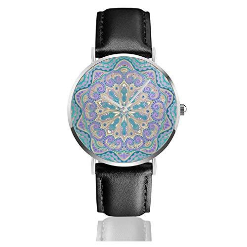 Linda Mandala colorido en púrpura azul y oro clásico reloj de cuarzo casual acero inoxidable correa de cuero negro relojes de pulsera