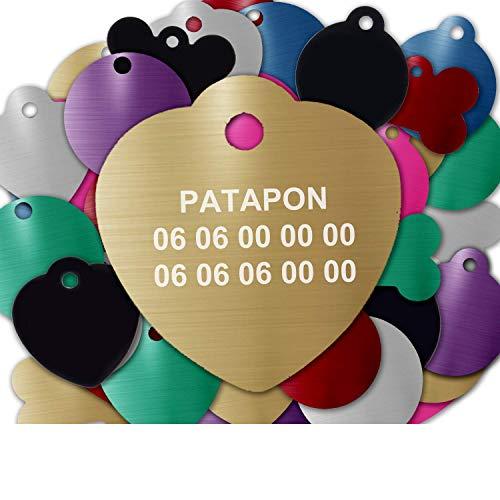 Gravure Concept Médaille pour Chien Et Chat À Personnaliser – Médaillon Gravé 31 mm - 1 à 3 Lignes – 8 Couleurs Disponibles (Or, Coeur)