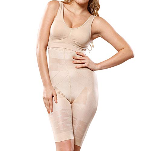 KINLOU Braguita Faja Braga Reductora Mujer - Vientre Plano Braguitas Modeladora Cintura Alta Body Moldeador Abdomen Shapewear, Beige/S
