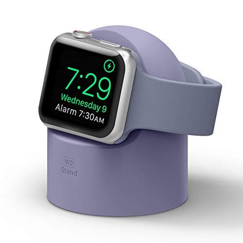 elago W2 Supporto W2 Stand Compatibile con Apple Watch SE/Serie 6 / Serie 5 / Serie 4 / Series 3 / Series 2 / Series 1 / 44mm / 42mm / 40mm / 38mm - Stand Notturno, Gestione Cavi (Lavanda Grigio)