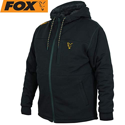Fox Collection Black / Orange Sherpa Hoody Pullover mit Kapuze, Größe:L