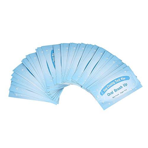 KKmoon 50 unidades de toalhetes de dentes para dentes escova de dentes lenços umedecidos ferramenta de clareamento dental para limpeza profunda oral