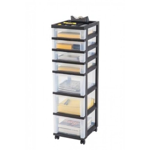 7 Drawer Rolling Cart with Organizer Top MC-343 Top Black