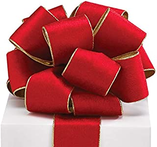 """Burton & Burton Red Velvet Wired Classic Traditional Wide Craft Ribbon with Metallic Gold Edges for Bow Creations, Weddings, Holidays, Christmas, Decoration - Red/Gold, 2.5"""" x 20yds"""