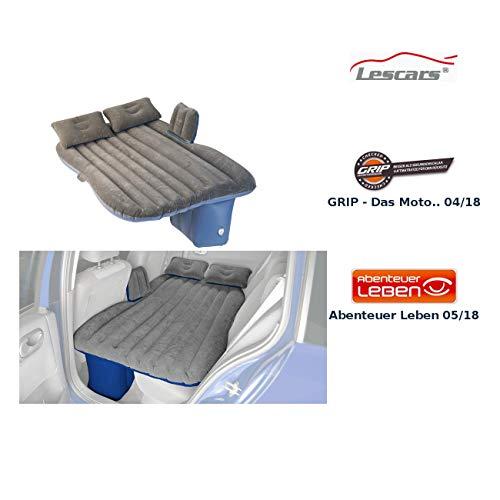 Lescars Auto Matratze: Aufblasbares Bett für den Auto-Rücksitz, mit Kissen und Fußraum-Stütze (Schlafmatratze für Auto)