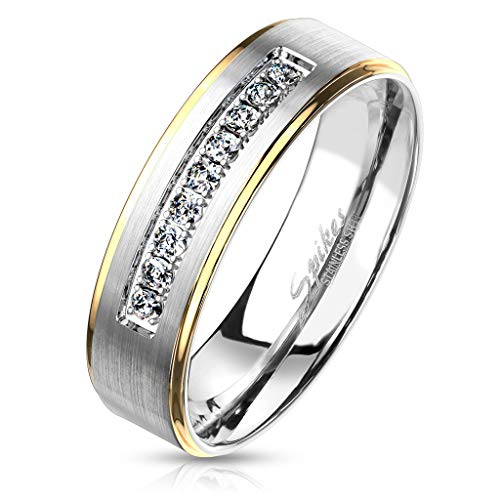 viva-adorno Damen & Herren Edelstahl Ring Partnerring Verlobungsring matt gebürstete Mitte Kristall Leiste RS57c, Rand Gold, Gr.58