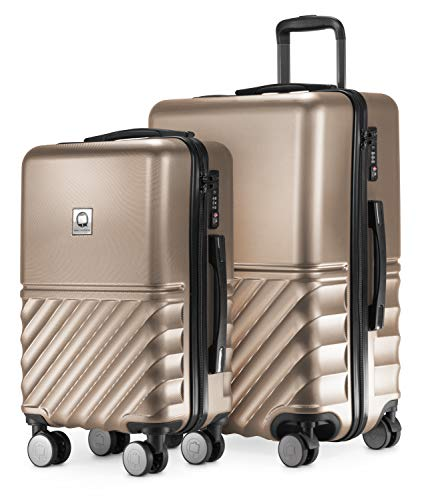 HAUPTSTADTKOFFER - Boxi - 2er Kofferset Trolley-Set Rollkoffer Reisekoffer Handgepäck und mittelgroßer Koffer (55/65 cm), ABS-Hartschale TSA, 4 Spinner-Doppelrollen, Gold
