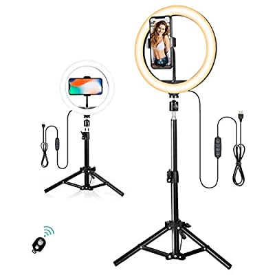 10 inch Selfie Ring Light with Tripod Stand, Dimmable LED Beauty Camera Ringlight for Makeup/Photography/YouTube Videos/Vlog/TIK Tok/Live from NOBLE DUCK