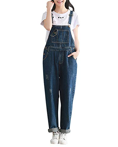 DianShaoA Mujer Peto Vaqueros Largo Casual Suelto Bolsillos Tiras Fiesta Pantalones De Babero Jumpsuit Suelto Casual Oficina Pantalone Azul 2XL