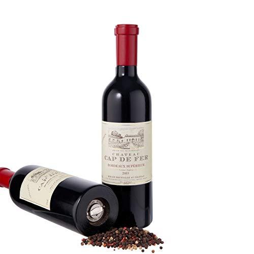 BUTLERS Wine - Pfeffermühle Rotweinflasche - schwarzer Gewürzstreuer in modernem Design - Holz, Metallmahlwerk aus Edelstahl - 30 cm