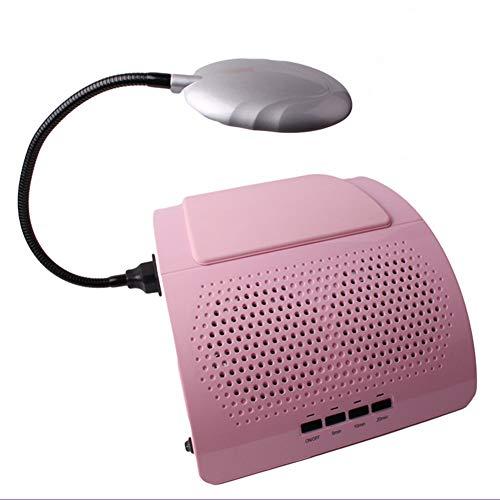 Aspirateur Manucure Nail LED allume le rose de l'outil de nettoyage de bureau d'aspirateur de fan de double fan avec le sac 110v / 220v de vide