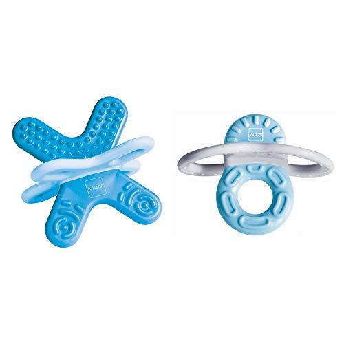 MAM Bite & Relax Set, extra leichte blaue Beißringe für Babys, schmerzlindernde Baby Zahnungshilfe für Vorder- und Backenzähne, ab 2+Monaten