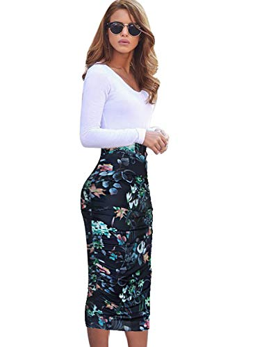 VFSHOW Womens Elegant Dark Blue Floral Print Ruched Ruffle High Waist Pencil Midi Mid-Calf Skirt 2280 BLK XXL