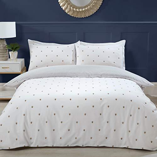 Sleepdown Bumble Bee White Reversible Grey Hexagon Honeycomb Soft Duvet Cover Quilt Bedding Set with Pillowcases - Double (200cm x 200cm)