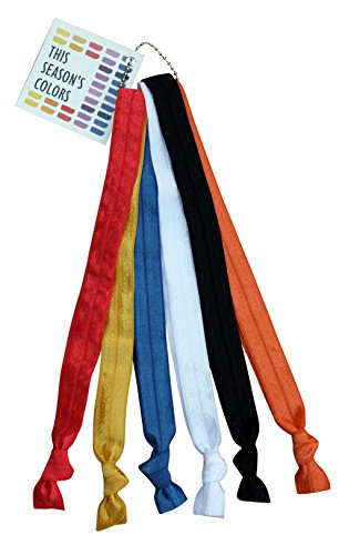Primary No Crease Elastic Headband Hair Ties by THIS SEASONS COLORS; 5/8 Wide, Adjustable size: Sports, Casual, Yoga; Set of 6; Red, Yellow, Blue, White, Black & a Bonus Color