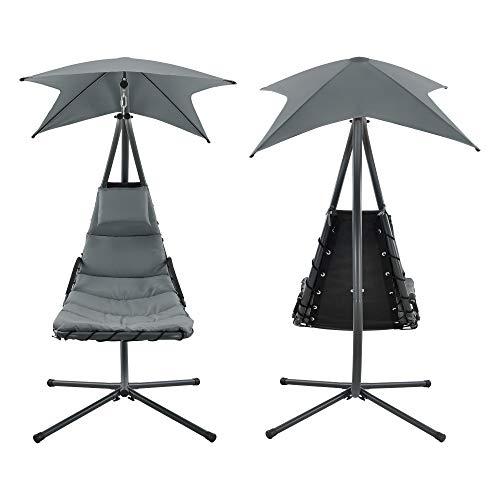 [en.casa] Hängeliege mit Sonnendach Schwebeliege mit Polsterauflage 120 kg Schwingliege Relaxliege Stahlgestell Polyester Grau - 3