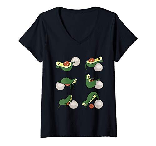 Damen Avocado Burn Belly Fat T-Shirt mit V-Ausschnitt