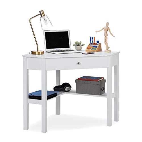 Relaxdays Escritorio, Mesa Esquinera Rinconera, Estudio, Despacho, Oficina, DM, 1 Ud, 76 x 107 x 72 cm, Blanco