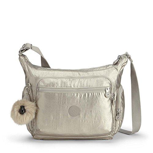 Kipling Damen Gabbie Umhängetasche, Silber (Silver Beige), 15x24x45 centimeters
