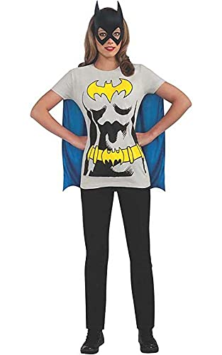 Rubie's mens Dc Comics Women's Batgirl T-shirt With Cape and Mask childrens costumes, Black, X-Large US