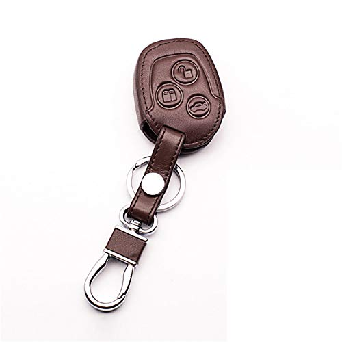 meDKO Funda de Cuero para Llavero, Funda para Anillo, para Ford Mondeo Fiesta Focus C-MAX, Soporte para Control Remoto, Carcasa para Llave de 3 Botones