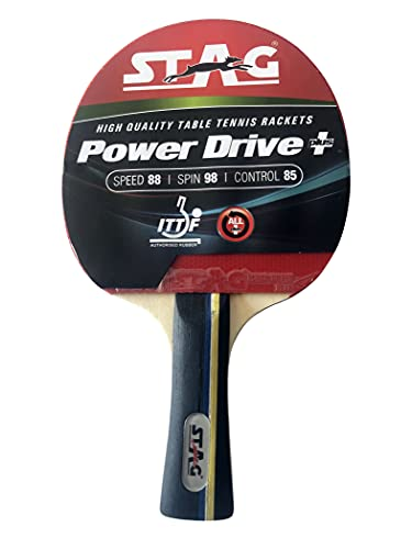 STAG Power Drive plus Table Tennis Racquet with Wooden case 174 grams Intermediate ITTF Approved Rubber (Multicolor)