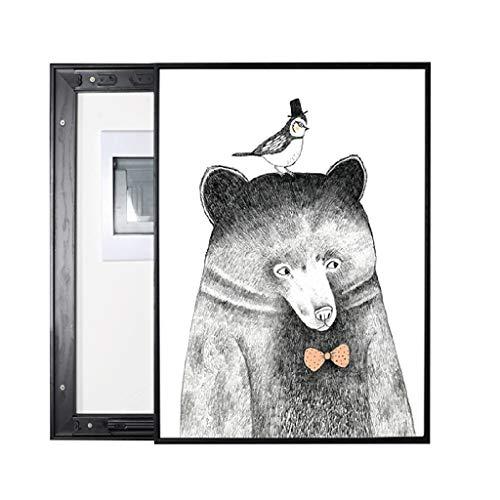 YILIAN BHUA Stromzähler-Kasten-dekorative Malerei-Gegentakt-Art für Schlafzimmer-Restaurant-Hotel-Korridor-Wand, Tiermuster des schwarzen weißen Bären Wandbild (Size : (60 * 50cm 50 * 40cm))