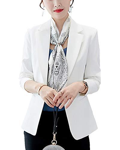 ShiFan Donna Giacca da uomo su misura con maniche lunghe aderente formale da ufficio S (Busto 86 CM Bianco