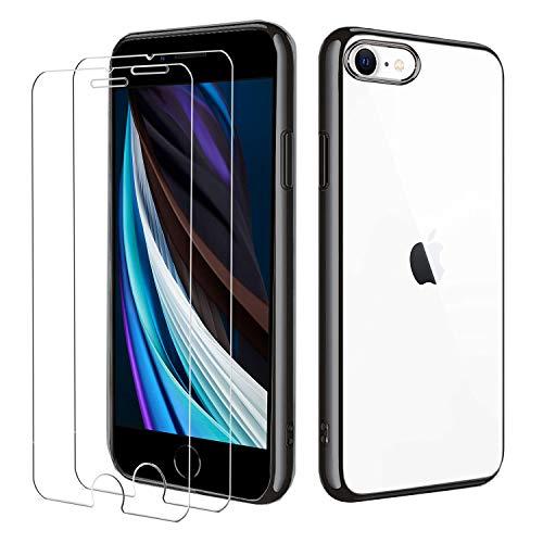 iPhone SE 2020 iPhone 8 iPhone 7 Hülle mit Panzerglas,[1 Hülle + 2 Panzerglas] Schutzhülle Schutzfolie Folie Glas TPU Silikon Case Cover Transparent für iPhone SE 2020/8/7(Schwarz)
