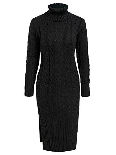 Terryfy Damen Midi Kleid Elegant Strickkleid Schlitz Rollkragen Zopfmuster Jerseykleid Pullover Schwarz