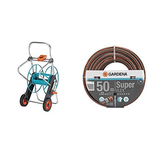Gardena Metall Schlauchwagen 100: Stabile, beschichtete Schlauchtrommel & Premium SuperFLEX Schlauch 13mm (1/2 Zoll), 50 m: Gartenschlauch mit Power-Grip-Profil, 35 bar Berstdruck