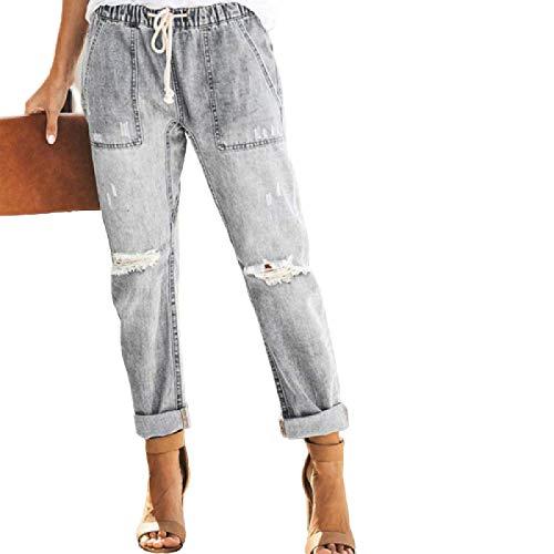 Pantaloni da Donna a Vita Alta, Facili da Indossare, Comodi, con Taglio a Stivale, Pantaloni a Gamba Dritta, Streetwear, Moda Casual, con Coulisse Large