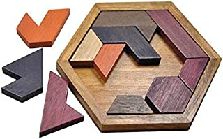 لعبة احاجي صور مقطوعة خشبية مع قاعدة سداسية لتطوير الذكاء، لعبة مناسبة كهدية للاطفال والبالغين