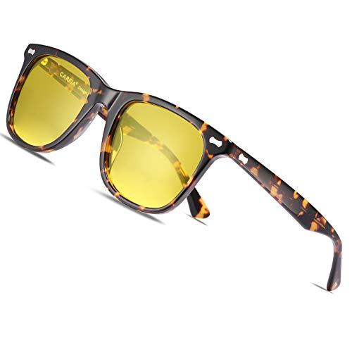 Carfia Gafas de Sol Polarizadas de Estilo Retro Metal de UV400 Protección para Deporte y Aire Libre Ciclismo Golf (Marco Tortuga con visión nocturna, Marco de acetato)