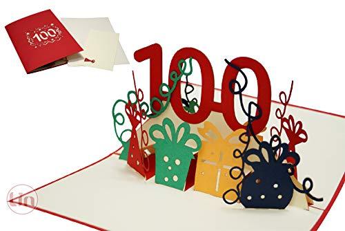 LIN17598, POP UP 3D Karte 100, Pop Up Geburtstagskarte 100, Grußkarten Geburtstag 100, Pop Up Karte, POP UP Karten Geburtstag, Pop Up Geburtstagskarte, Jubiläumszahl 100, N352