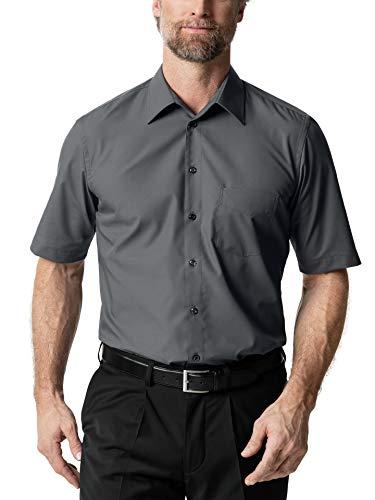 Walbusch Herren Hemd Bügelfrei Kragen ohne Knopf einfarbig Anthrazit 43 - Kurzarm