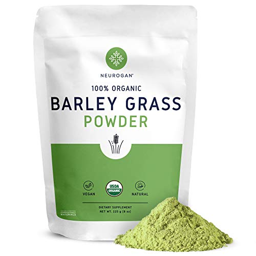 NEUROGAN Organic Barley Grass Powder (8oz 225 Grams) Rich in Antioxidants, Chlorophyll, Enzymes, Fiber, Protein - Supports Normal Immune Function & Healthy Digestion, Made with USDA Organic Supergreen