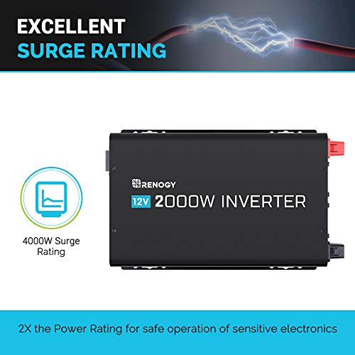 Renogy 2000W Power Inverter 12VDC to 120VAC Pure Sine Wave with Special LED Indicators