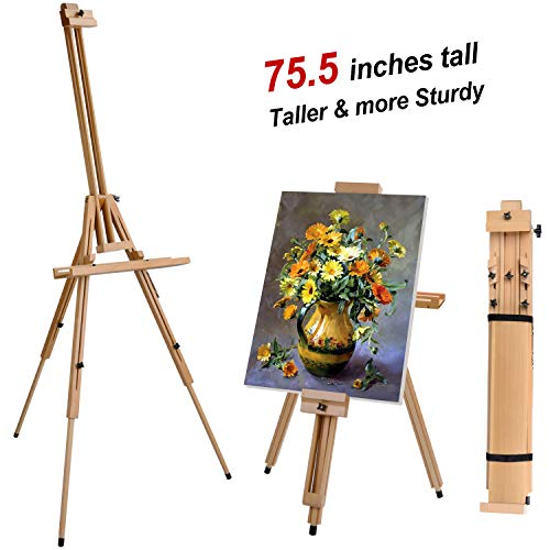 T-SIGN Wood Painting Easel Stand, Portable Art Floor Tripod Beech Easel, Foldable Design, Adjustable Height 36.5 to 75.5 Inches, Adjustable Large Tray for Painting, Sketching, Display