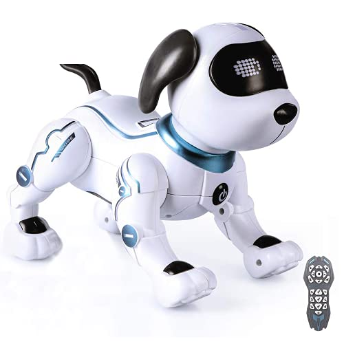 LANDZO Remote Control Dog Robot Toys for Kids RC Smart Robotic Stunt Robot Dog with Sound & LED Eyes, Electronic Puppy Programmable Walking Talking Singing Dancing, Interactive Gift for Boys Girls